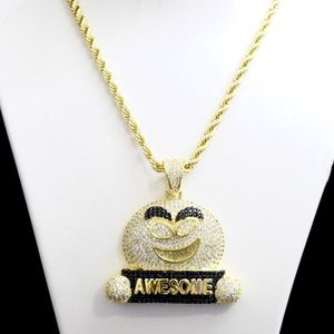 14k Gold Lab Diamond Emoji Awesome Charm Chain 24""